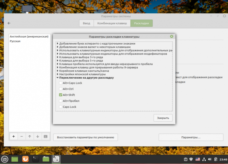 Linux mint 20 - Настройка раскладок клавиатуры