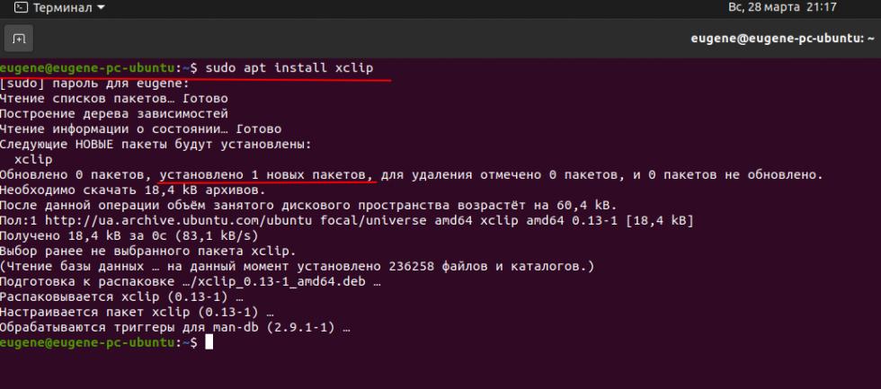 Установим xclip в Ubuntu 20.04 LTS